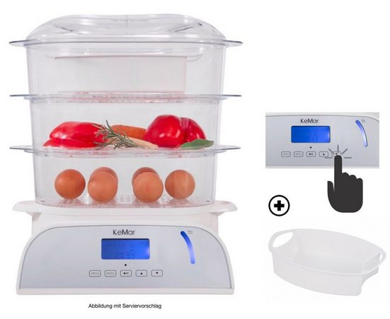 KeMar Kitchenware Dampfgarer KFS-950, 800 Watt, Touch Display, 6 automatische Programme, Beleuchtetes Display, 3 separate Dämpfkörbe, Timer, Reisschale, Warmhaltefunktion