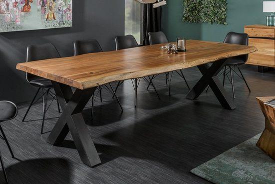 riess-ambiente Esstisch »MAMMUT NATURE 200cm honigfarben«, Massivholz · Baumkante · X-Gestell · 6cm Tischplatte · Akazie