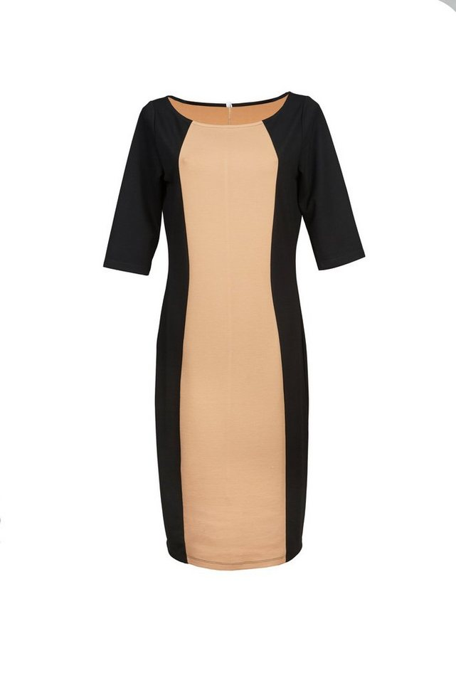 Jerseykleid in schwarz-beige