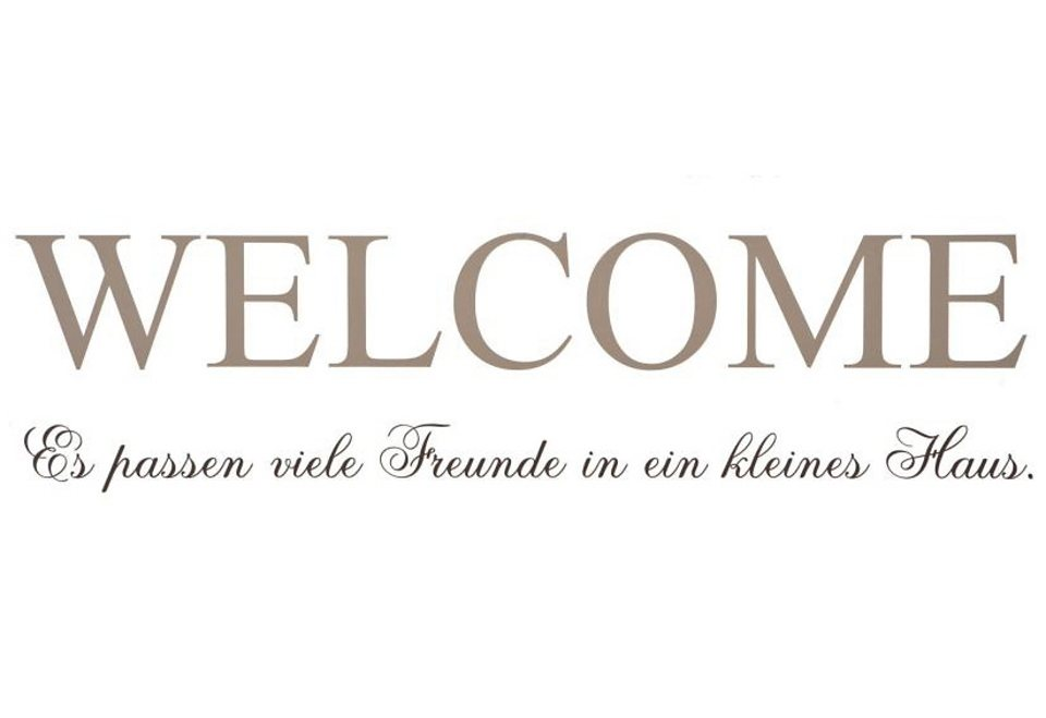 Wandspruch »WELCOME« in Welcome hellgrau, Spruch anthrazit