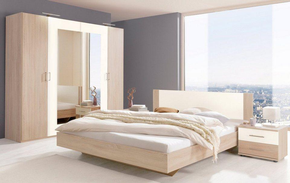 Wimex Schlafzimmer-Set mit Drehtürenschrank (4-tlg.) in struktureichefarben hell/weiß
