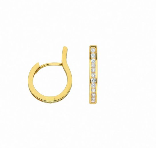Adelia´s Paar Ohrhänger »585 Gold Ohrringe / Creolen mit Zirkonia«, Goldschmuck für Damen