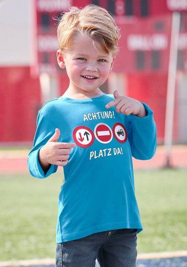 Arizona Langarmshirt »ACHTUNG! PLATZ DA!« mit beweglichen Applikationen