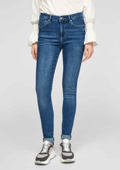 s.Oliver 5-Pocket-Jeans »Hose« Waschung, Leder-Patch
