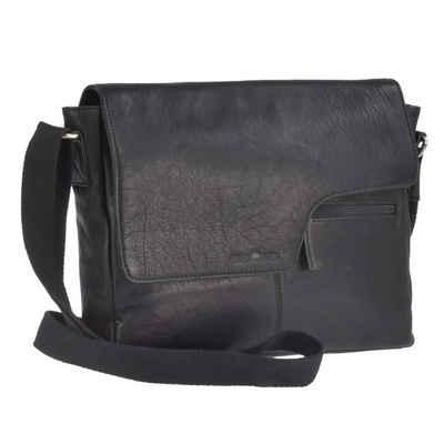 Greenburry Umhängetasche »Vintage Black«, Messenger A4 quer, Schultertasche, für Herren, für Damen, schwarz