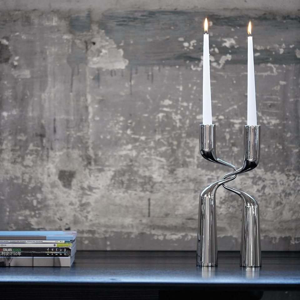 MENU Menu Kerzenständer DOUBLE 32cm Edelstahl - 2er Set in silber