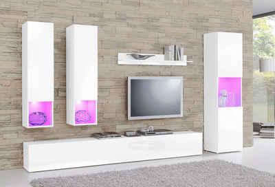 Wohnzimmermöbel weiß  Wohnwand in weiß » Hochglanz & Matt kaufen | OTTO