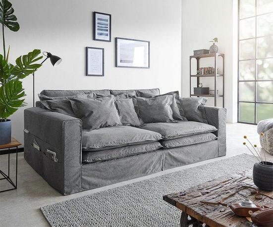 DELIFE Big-Sofa »Noelia«, Taupe 240x140 cm mit Kissen Hussensofa
