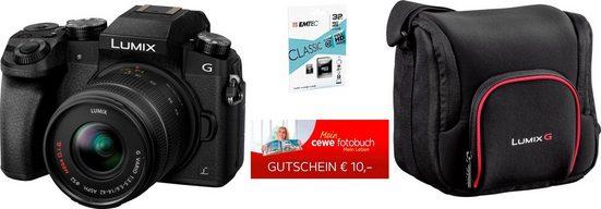 Panasonic »DMC-G70KAEG-K mit 14-42mm« Systemkamera (16 MP, WLAN (Wi-Fi), Tasche DMW-PGH68XEK + 32 GB SD-Karte (EmTec) + 10 € CEWE FGS)