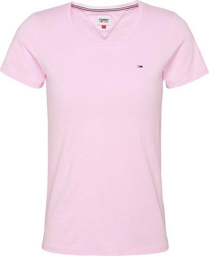TOMMY JEANS Rundhalsshirt »TJW STRETCH CREW TEE« mit Tommy Jeans Logo-Flag auf der Brust