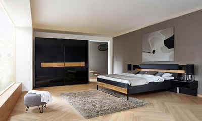 rauch BLACK Schlafzimmer-Set »Mayla«, (Set 6-tlg) Schrank, Bett 180x200 cm, 2 Hängenachttische und 2 Paneele