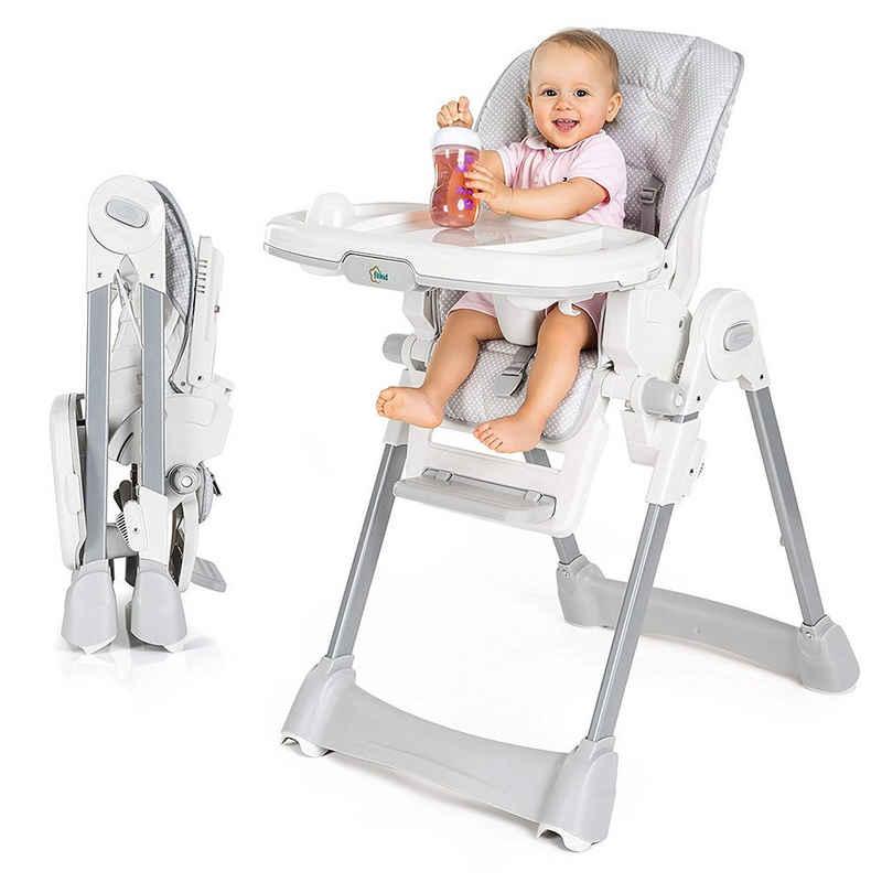 Fillikid Hochstuhl »Aron - Punkte - Grau« (1 Stück), Babystuhl ab Geburt mit Liegefunktion - inkl. Tisch mit abnehmbaren Tablett, klappbar und höhenverstellbar