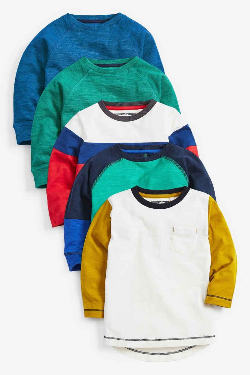 Next Langarmshirt »Langärmelige T-Shirts in Blockfarben, 5er-Pack« (5-tlg)