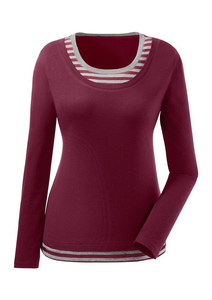 Classic Inspirationen Shirt mit gestreiftem Einsatz an Ausschnitt und Saum in bordeaux-grau