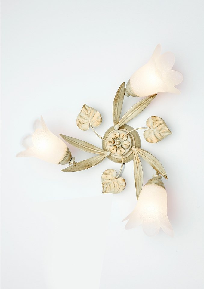 Deckenlampe »Florentiner-Serie«, 3flg. in elfenb./goldf.