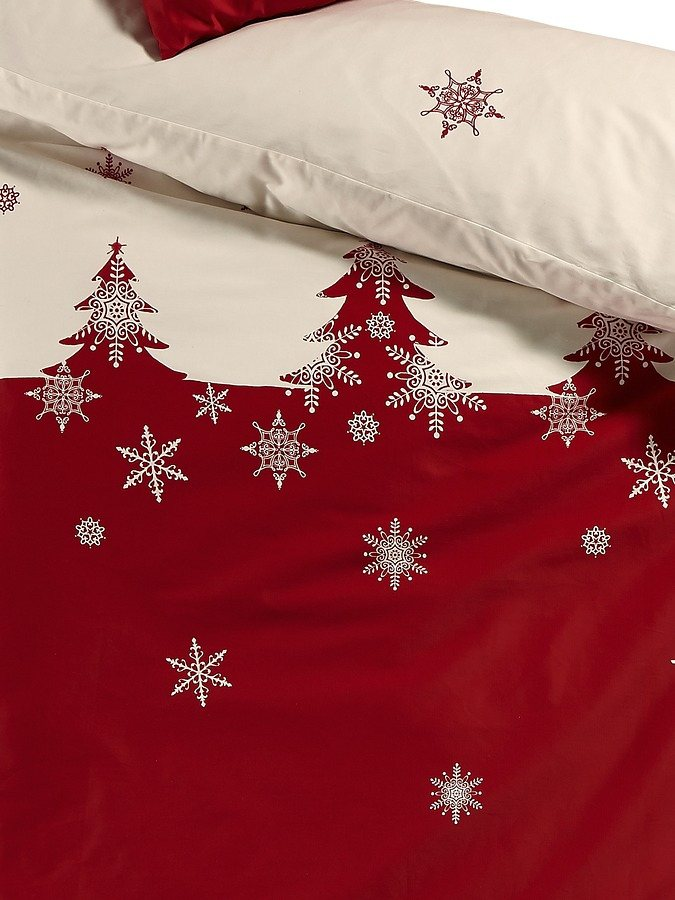 Designer-Bettwäsche in weiß/rot