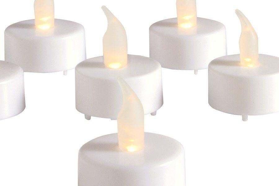 LED-Teelichter, 8er-Set in weiß