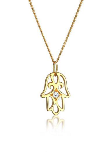 Elli Collierkettchen »Hamsa Hand Diamant (0.03 ct) 585 Gelbgold«