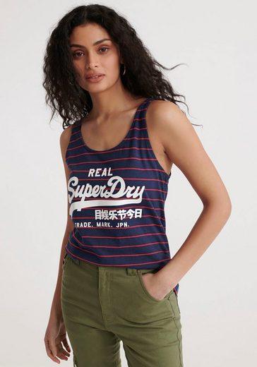 Superdry Tanktop »Vintage Trägerhemd mit Streifen« mit Logodruck