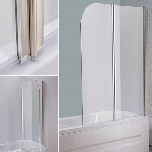 Mucola Badewannenaufsatz »133CM Glas Duschabtrennung Duschwand Badewannenaufsatz Faltwand Klarglas NEU«, (1 tlg), Links- oder rechtsseitig montierbar