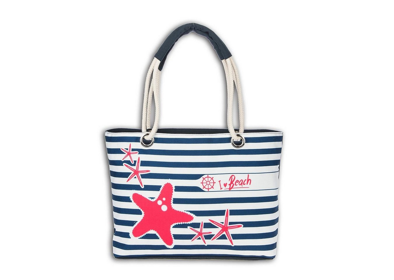 robin ruth -  Schultertasche »OTG2096BW  Strandtasche Canvas blau weiß« (Strandtasche), Strandtasche, Schultertasche Baumwolle, Polyester, blau, weiß ca. 48cm x ca. 29cm