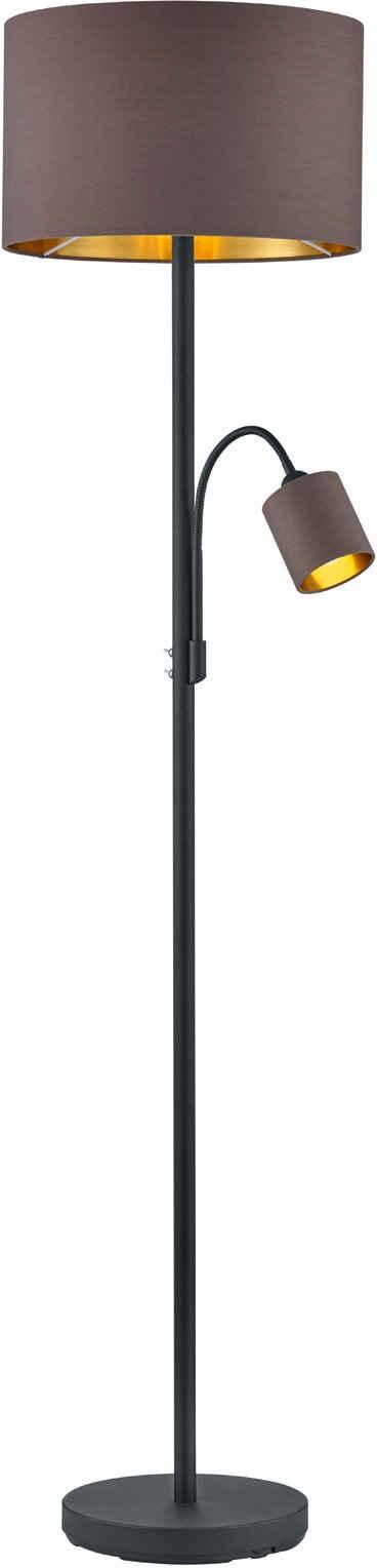 my home Deckenfluter »Josie«, Stehlampe mit Leselicht, getrennt schaltbar, Lesearm flexibel einstellbar, Stoff - Schirm taupe / innen goldfarben