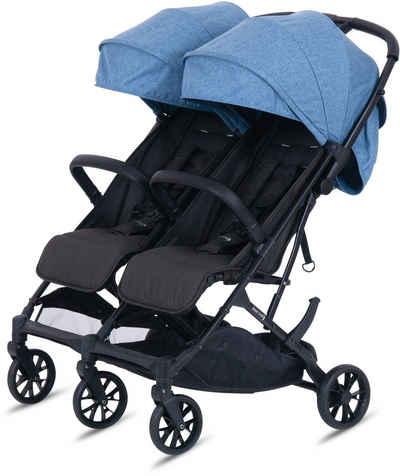 Knorrbaby Zwillingsbuggy »Twin-Easy Fold, Blau«, faltbar; Zwillingskinderwagen; Kinderwagen für Zwillinge; Buggy für Zwillinge; Zwillingswagen