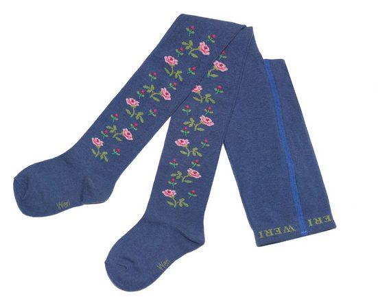 WERI SPEZIALS Strumpfhersteller GmbH Strickstrumpfhose »Kinderstrumpfhosen für Mädchen >>Rosenzweige<< mit Baumwolle«