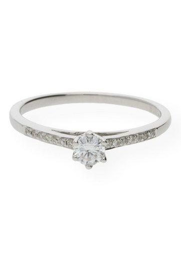 JuwelmaLux Verlobungsring »Verlobungsring Gold Damen mit Diamant(en)« (1-tlg), Weißgold 750/000, inkl. Schmuckschachtel