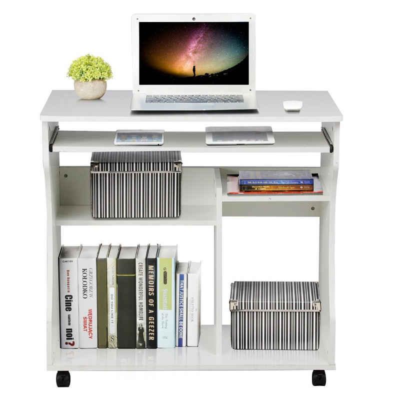Yaheetech Computertisch, Computerschreibtisch Schreibtisch mit 4 Ablageflächen, 80 x 48 x 76 cm, Bürotisch PC Tisch