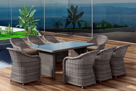 BAIDANI Gartenmöbelset »Charming«, 17-tlg., 8 Stühle, Tisch 90x200 cm, inkl. Auflage