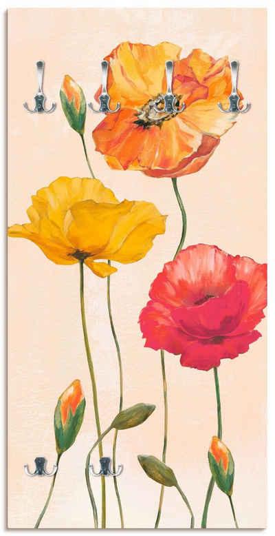 Artland Garderobe »Bunte Mohnblumen«, platzsparende Wandgarderobe aus Holz mit 6 Haken, geeignet für kleinen, schmalen Flur, Flurgarderobe