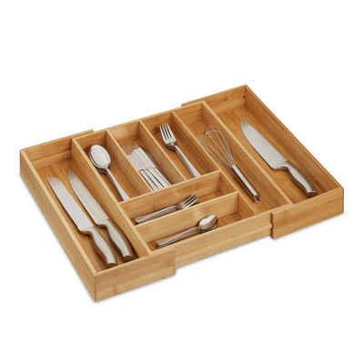 relaxdays Besteckkasten »Besteckkasten Bambus ausziehbar«