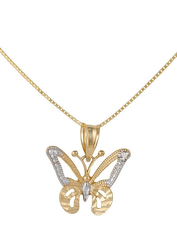 firetti Halsschmuck: Halskette »Schmetterling« in Venzianerkettengliederung mit Diamant in goldfarben