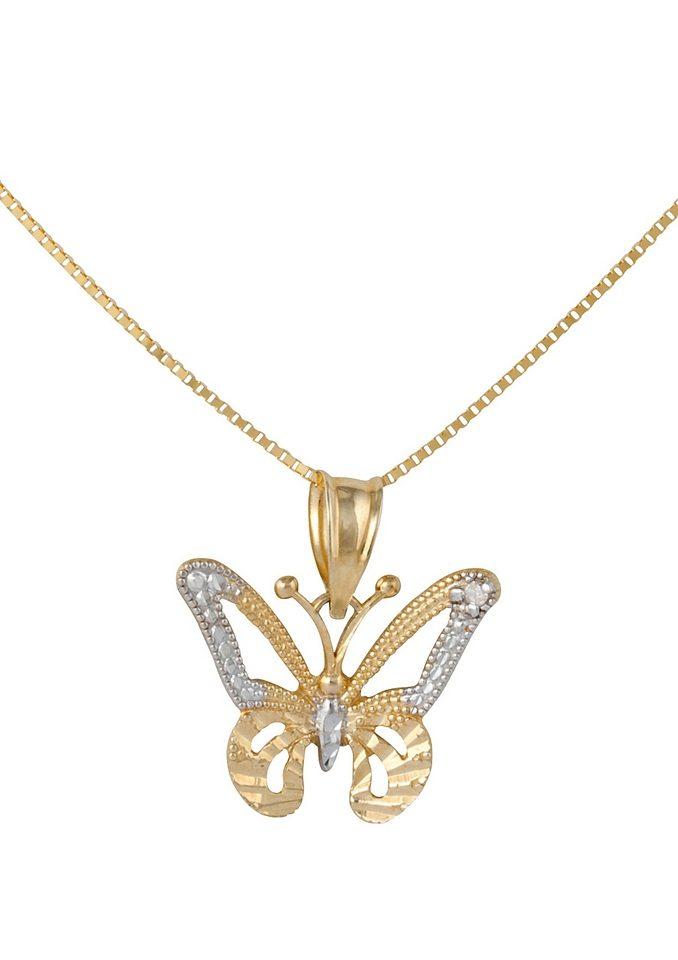 firetti Halsschmuck: Halskette »Schmetterling« in Venzianerkettengliederung mit Diamant