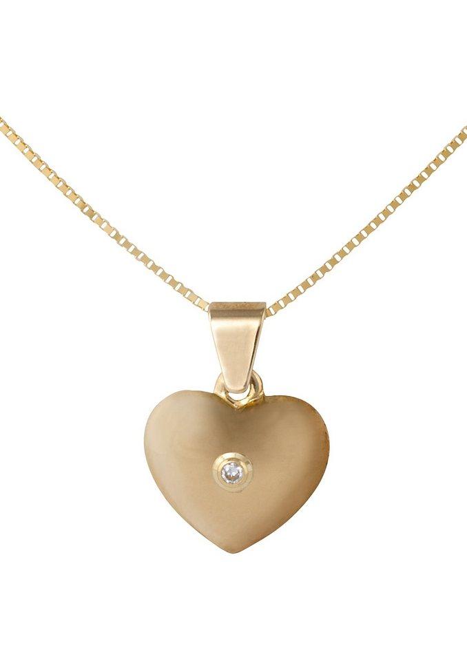 Vivance Jewels Halsschmuck: Halskette »Herz« in Venezianerkettengliederung mit Diamant in goldfarben