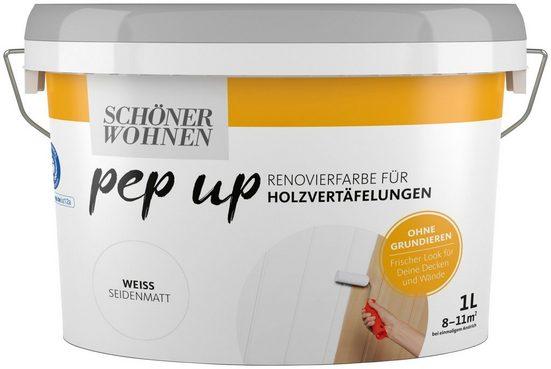SCHÖNER WOHNEN FARBE Renovierfarbe »pep up - weiß«, seidenmatt, für Holzvertäfelungen 1 l