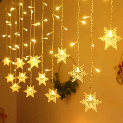 Rosnek LED-Lichterkette »96LED Schneeflocke Märchen String Vorhang Lichter im Freien Hochzeit Weihnachten Party«, Energieeinsparung