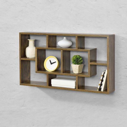 en.casa Wandregal, Hängeregal, »Saputit« Bücherregal Schweberegal Wandboard 85x16x48cm CD Regal mit 8 Ablagefächern Holzfarben