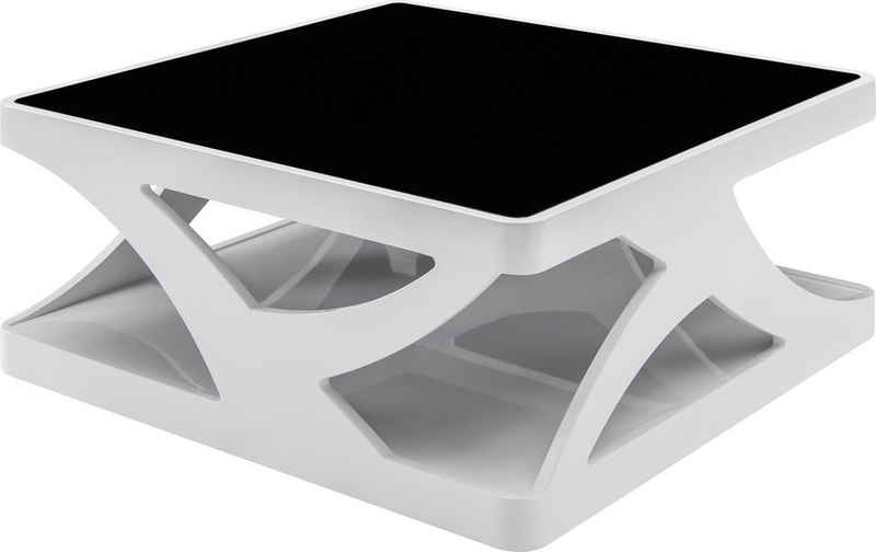 SalesFever Couchtisch, 10 mm Schwarzglasplatte, rechteckig oder quadratisch