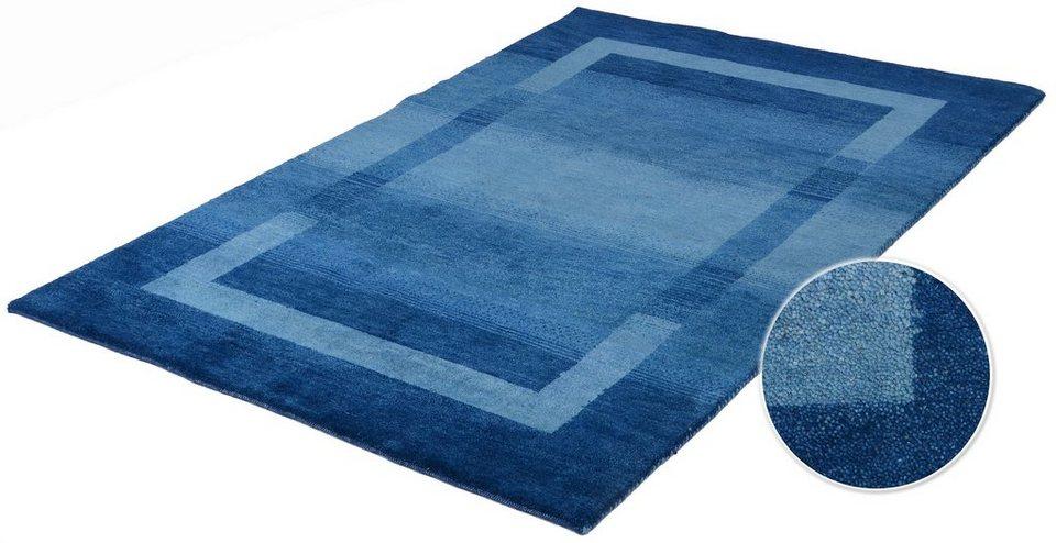 Orient-Teppich, Parwis, »Gabbeh Salek«, 3,5kg/m², handgeknüpft, Schurwolle, Unikat in blau