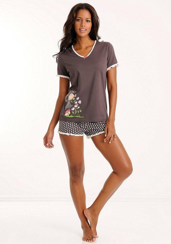 NICI Shorty mit gepunkteter Shorts & Schäfchenprint in dunkelgrau