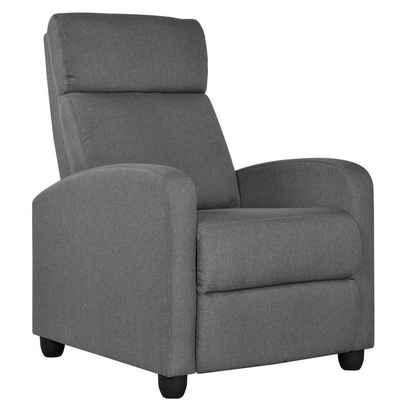 Yaheetech Relaxsessel, Fernsehsessel Einzelsofa Ruhesessel mit Verstellbarer Beinablage Liegesessel aus Leinenstoff Grau
