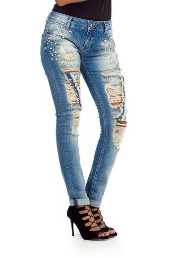 Cipo & Baxx Bequeme Jeans mit besonderen Destroyed-Elementen in Skinny Fit