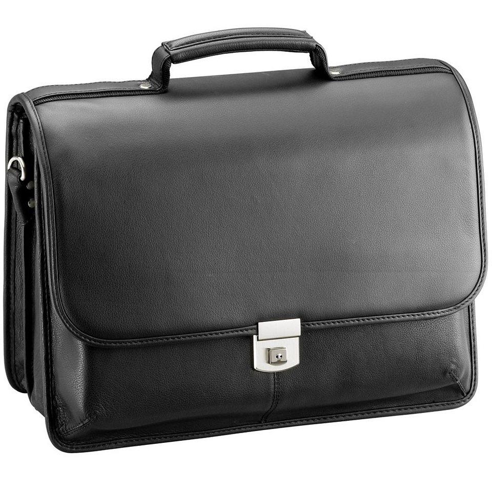 d & n Business Line Aktentasche Leder 40 cm Laptopfach in schwarz