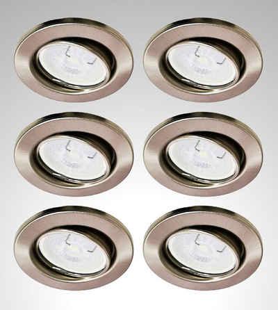TRANGO LED Einbauleuchte, 6729-062G6KSDAK 6er Set LED Deckenstrahler in Edelstahl-Optik Rund inkl. 6x 5 Watt 3-Stufen dimmbar GU10 LED Leuchtmittel 6000K Tageslichtweiß (kaltwei), Einbaustrahler, Einbauspot, Deckenleuchte, Deckenspots