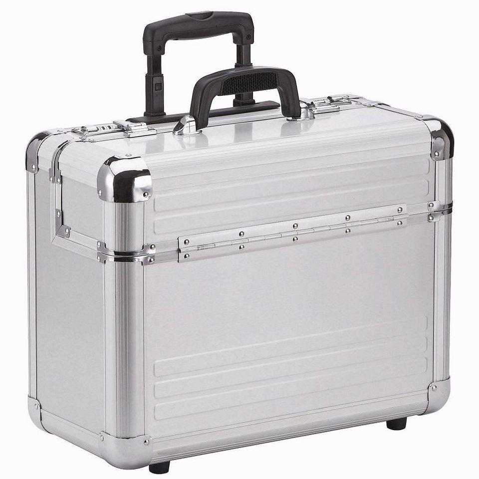 Dermata Aluminium Pilotenkoffer Trolley 46,5 cm Laptopfach in silberfarben-matt