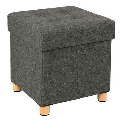 SONGMICS Sitzhocker »LSF14GYX LSF14GYZ LSF14IN«, Sitzbank, faltbare Sitztruhe, gepolstert, mit Deckel, dunkelgrau