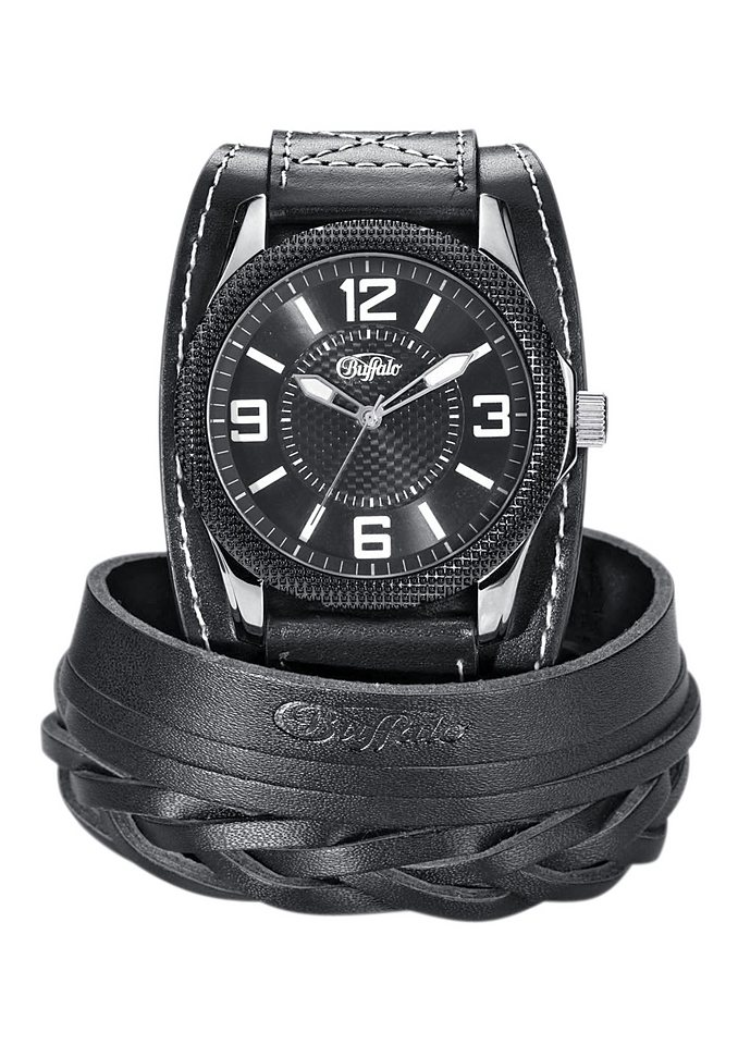 Buffalo Quarzuhr mit Armband (Set, 2 tlg.) in schwarz