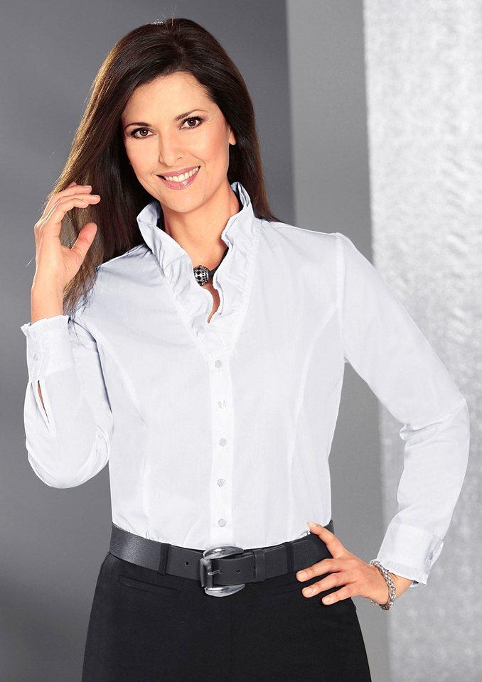 Classic Bluse mit doppellagigen Stehkragen in weiß